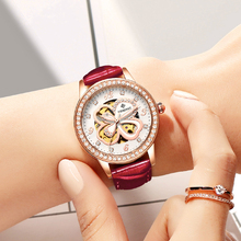 NEW Fashion Elegant Women Watch Automatic Mechanical Wristwatch Leather Female Clock Crystal Decoration Skeleton Dial Watches все цены