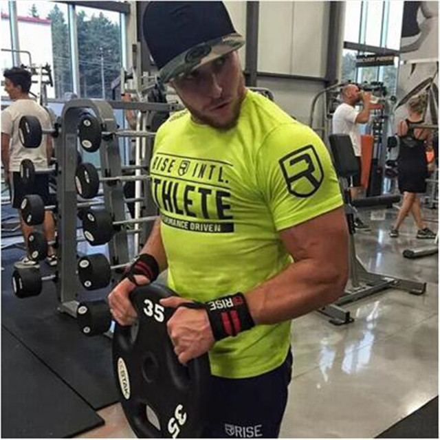 Mens Summer gyms Workout Fitness brand T-shirt Bodybuilding Slim Shirts printed O-neck Short sleeves cotton Tee Tops clothing
