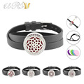 25mm czech crystals stainless steel twisted-off essential oil diffuser locket bracelet with leather band (free felt pads)