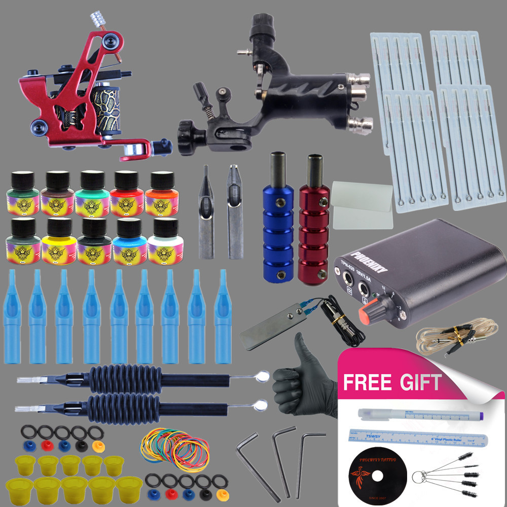 PRO Complete Tattoo Kit 1 Rotary Tattoo Gun 1 Liner Shader Machine  10 Color Inks Grip Needles Nozzles Tattoo Accessories 1set pro neuma style rotary tattoo gun machine for shader