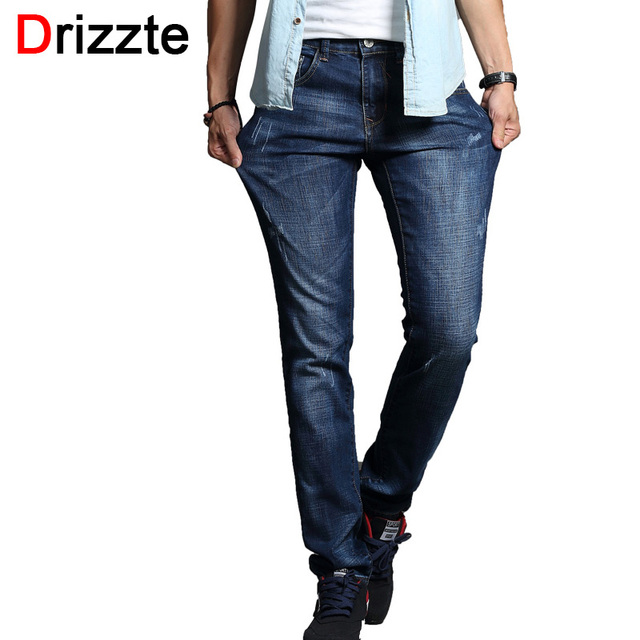 Drizzte hombres de la moda jeans stretch azul denim hombre slim fit jeans tamaño 30 32 34 35 36 38 pantalones jean