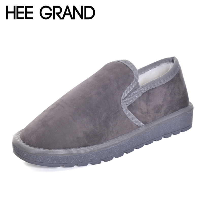 HEE GRAND 2017 Winter Ankle Boots Women Warm Solid Fashion Platform Snow Ankle Boots Shoes Woman Flat with 3 Colors XWM190 hee grand women snow boots winter flat panda pattern shoes woman fur cotton slip on snow ankle boots size 35 40 xwx4498