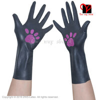 Sexy Black Latex Rubber Gloves Women Gothic Fetish Clubwear S Gloves Hip Pop Jazz Wrist Five