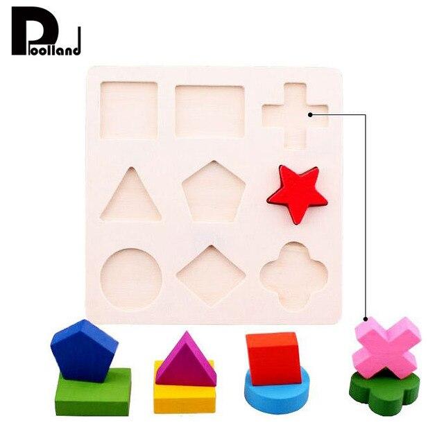 Colorido modelo 3D de madera que combina la geometría bloques de madera niños pinturas no tóxicas Montessori juguetes de Aprendizaje Temprano