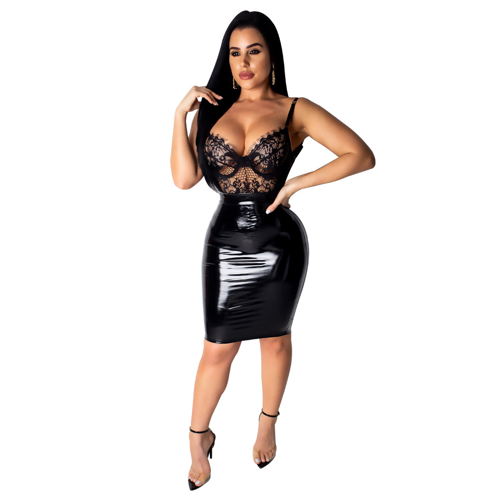 Women Sexy Lace PU Patchwork Dress Eyelash v neck Slim Bodycon Dress Vestidos Elegant Spaghetti Strap Party Dresses Club Outfit in Dresses from Women 39 s Clothing