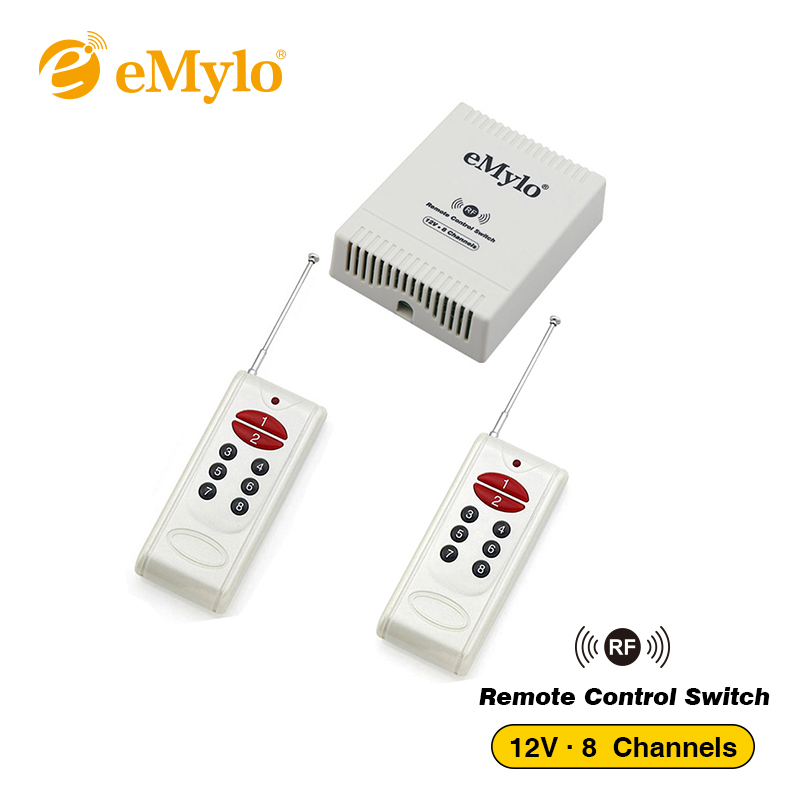 emylo dc 12v learning smart switch, wireless rf remote control lightemylo dc 12v learning smart switch, wireless rf remote control light led switch 433mhz white transmitter 8 channels relay toggle