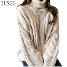 IUSGG Autumn Winter Sweater Women 2019 Knit High Elastic Pullovers Sweaters And Female Twist Pattern Tops