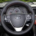 Hand-stitched Black Leather Steering Wheel Cover for Toyota RAV4 2013  2014 Toyota Corolla Car