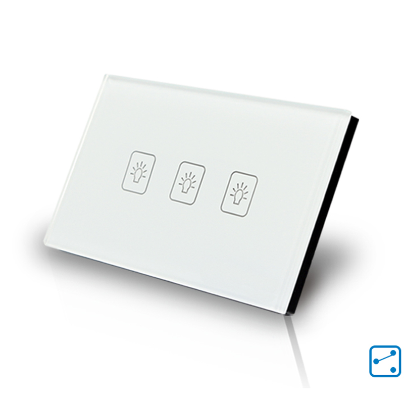 Crystal Glass 3 Gang 2 Way Panel Touch Control House Light Wall Switch US Type smart home us black 1 gang touch switch screen wireless remote control wall light touch switch control with crystal glass panel
