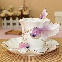 1 Unidades Pintado A Mano de Esmalte Goldfish taza de Café de Porcelana Conjunto Taza de Café Taza + Plato + Cuchara Set de Regalo Creativo Taza de Café 6 Colores
