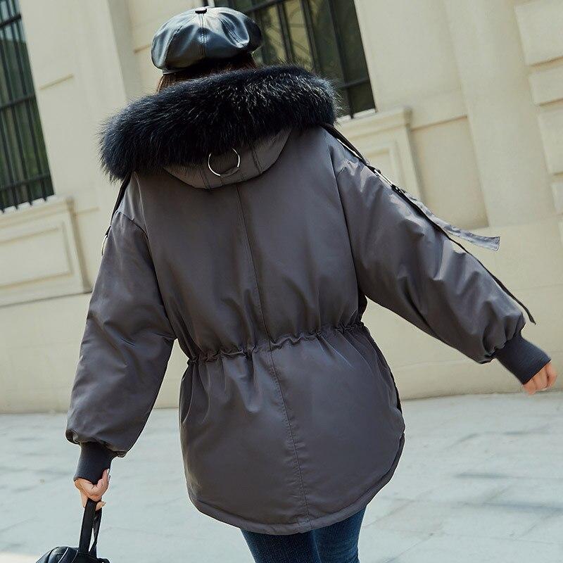 Le Canard Style Manteau Nouvelle Tops noir Épaississent Fourrure Vestes Chaud Femmes Manteaux gris Lâche Court Parka Beige Capuchon De Vers Bas À D'hiver Mode ftT5UpwqU