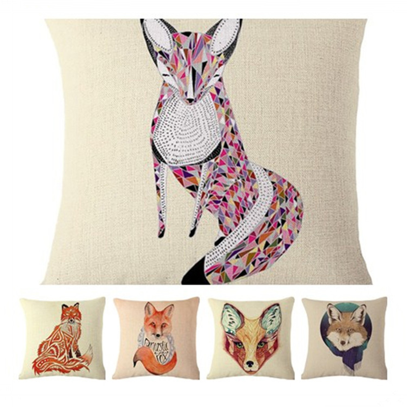 Waist Cushion Cover Fox Cotton Printing Pillowcase Square Pillow Case For Sofa Office F