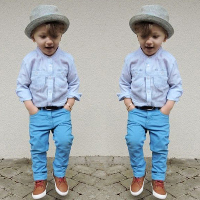 73281e6806b08 Kids Gentleman Boys Clothes Baby Costume Child Casual Long Sleeve Shirts+Pant  2pcs Set Toddler Boy Clothing Spring Autumn BC1121