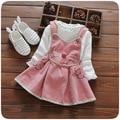 2016 nuevo otoño del bebé dress 100% algodón t-shirt + correa de dress girls dress princess dress niños ropa envío gratis marca