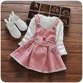 2016 outono nova baby dress 100% algodão t-shirt da correia + dress girls dress princess dress roupa das crianças frete grátis marca