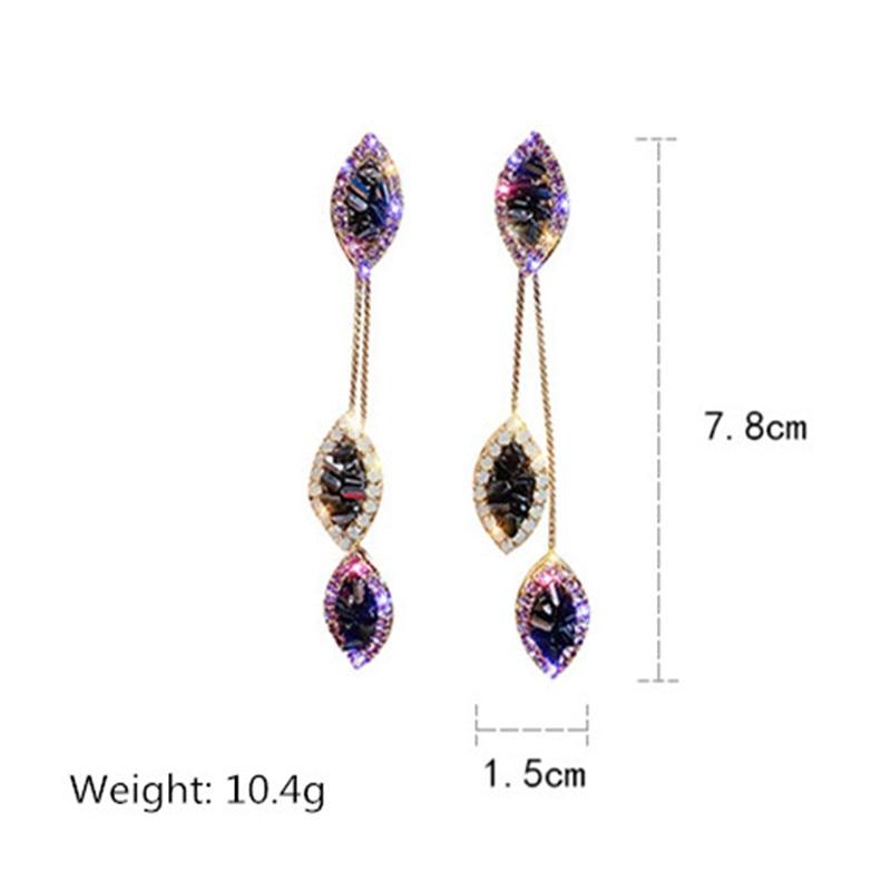 FYUAN Long Tassel Leaf Drop Earrings for Women Bijoux Purple Crystal Dangle Earring Party Fashion Jewelry Gifts