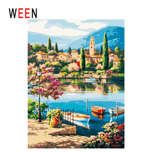 WEEN Town Lake Diy Painting By Numbers Abstract Boat House Oil On Canvas Tree Cuadros Decoracion Acrylic Wall Art Gift