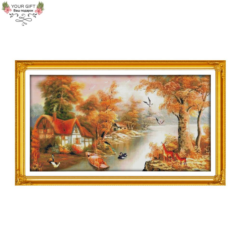 Your Gift F425 14CT 11CT Counted and Stamped Home Decoration With Mountain and River Cross Stitch kits