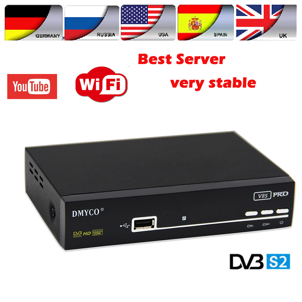 1 year Europe 7 clines server V8S PRO DVB-S2 Satellite Receiver Support PowerVu Biss Key Newcam Youtube same as V8 super box original freesat v8 golden satellite receiver dvb s2 t2 c powervu iptv box cccamd newcamd youtube youporn replace v8 pro