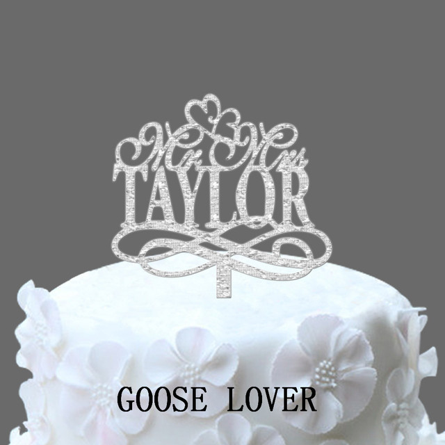 Personalize Wedding Cake Topper Mr And Mrs With Custom Name Acrylic Vintage Cake Toppers Wedding Gift Idea Cake Deocr