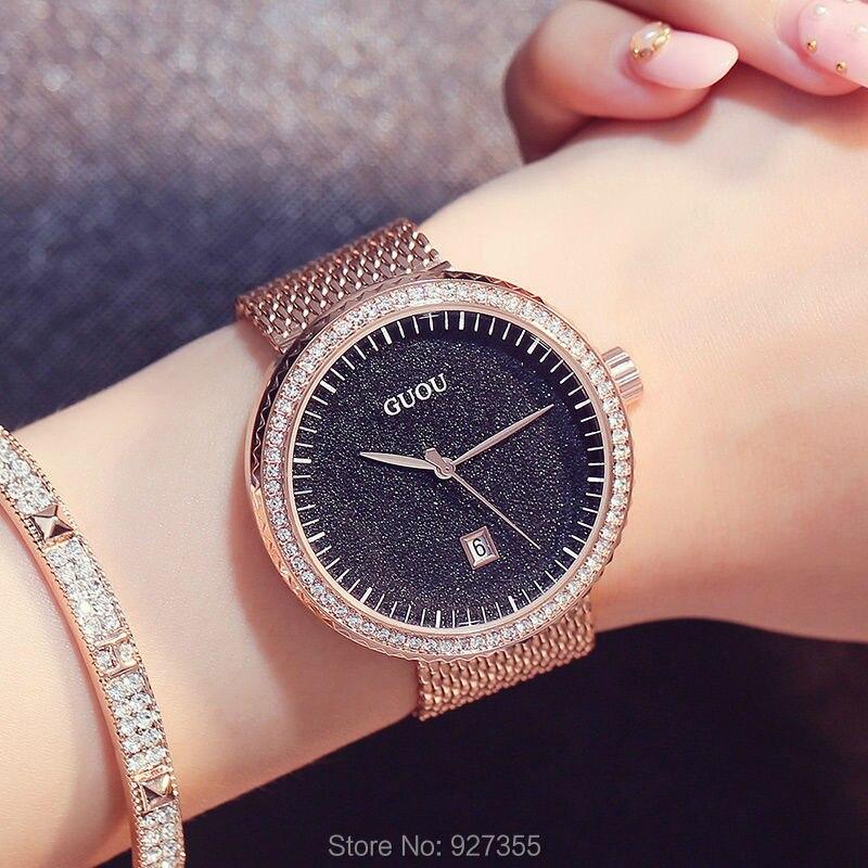 New 2019 GUOU Dress Women Watches Stylish Sky Bule Crystal Rhinestones Quartz Wristwatch Lady Bracelet Relogio