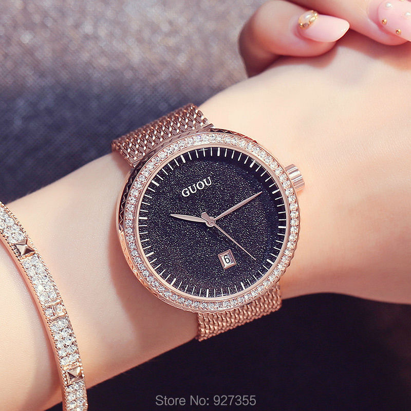 New 2018 GUOU Dress Women Watches Stylish Sky Bule Crystal Rhinestones Quartz Wristwatch Lady Bracelet Relogio Casual Watch women s stylish zinc alloy rhinestones quartz analog bracelet watch black silver 1 x 377