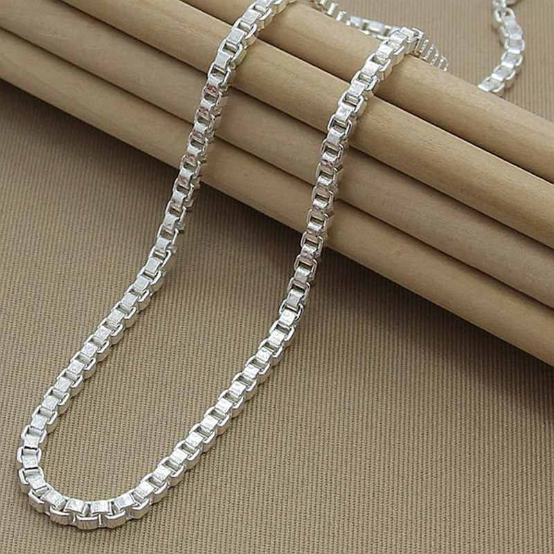 Hot Selling Box Chain Necklace 925 Jewelry Silver 4MM Width Chain Link Necklaces for Women Men Jewelry New 2019