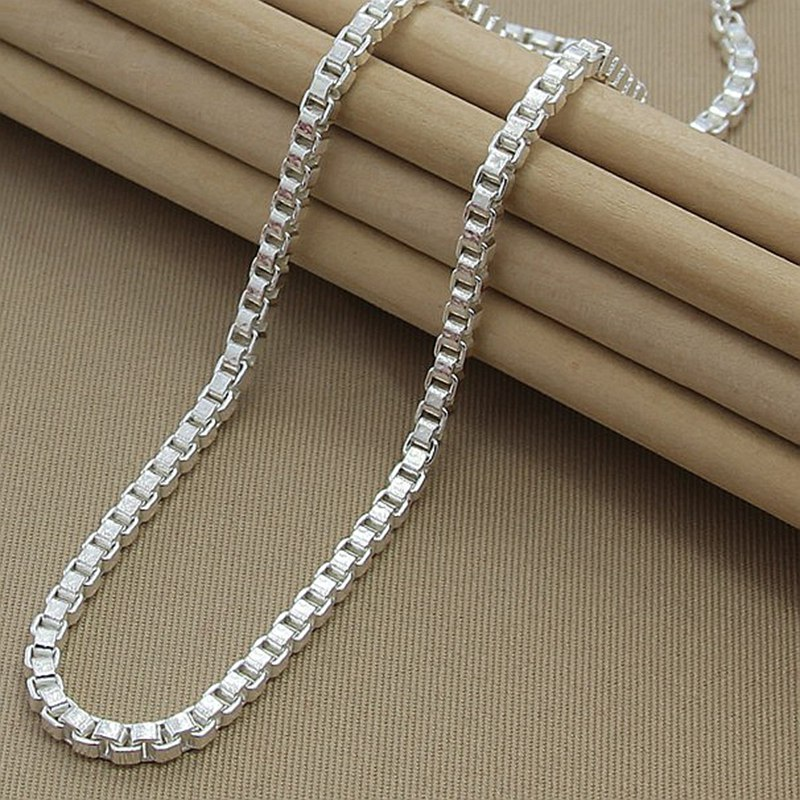 Hot Selling Box Chain Necklace 925 Jewelry Silver 4MM Width Chain Link Necklaces for Women Men Jewelry New 2019 image