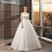 VENSANAC Illusion O Neck 2018 Bow Sash Ball Gown Sequined Wedding Dresses Lace Appliques Half Sleeve Bridal Gowns