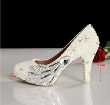 4inches heels Wedding Dress Shoes Eegant designs handmade Ladies White bridesmaid shoes Popular women Shoes