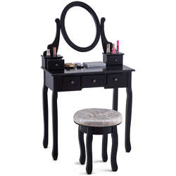 Giantex туалетный столик набор современная спальня макияж зеркало туалетный столик мягкий стул с 5 ящики деревянные комоды HW56028