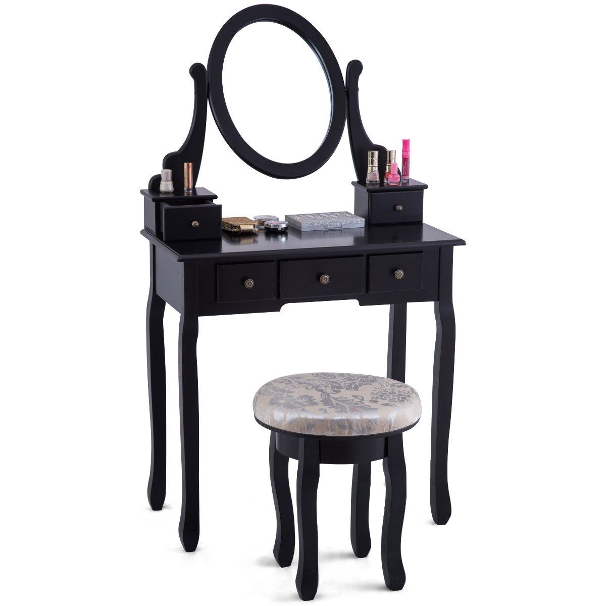 Giantex Vanity Table Set Modern Bedroom Makeup Mirror Dressing Table Cushioned Stool with 5 Drawers Wood Dressers HW56028 giantex wood makeup dressing table stool set jewelry desk drawer mirror black home furniture hw52951bk
