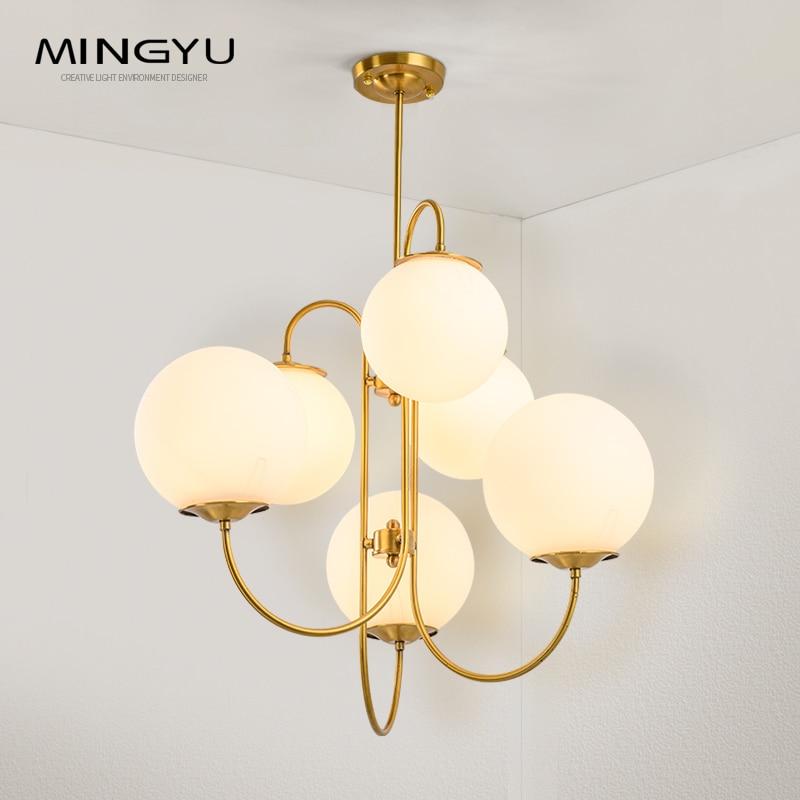 Nouveau lustre en verre blanc lait boule éclairage 6 têtes G4 led ampoule 10 V 120 V 220 V 240 V luminaires suspendus