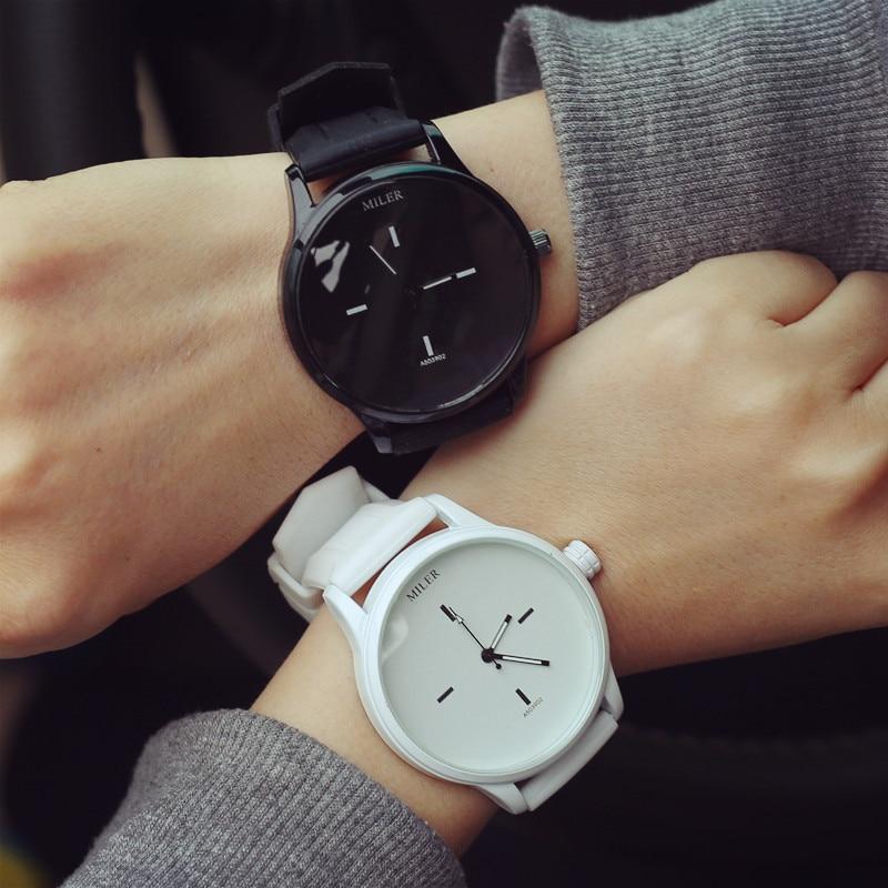 MILER Brand Soft Silicone Strap Jelly Quartz Watch Wristwatches For Women Ladies Lovers Relogio Miler Men Watch Black White