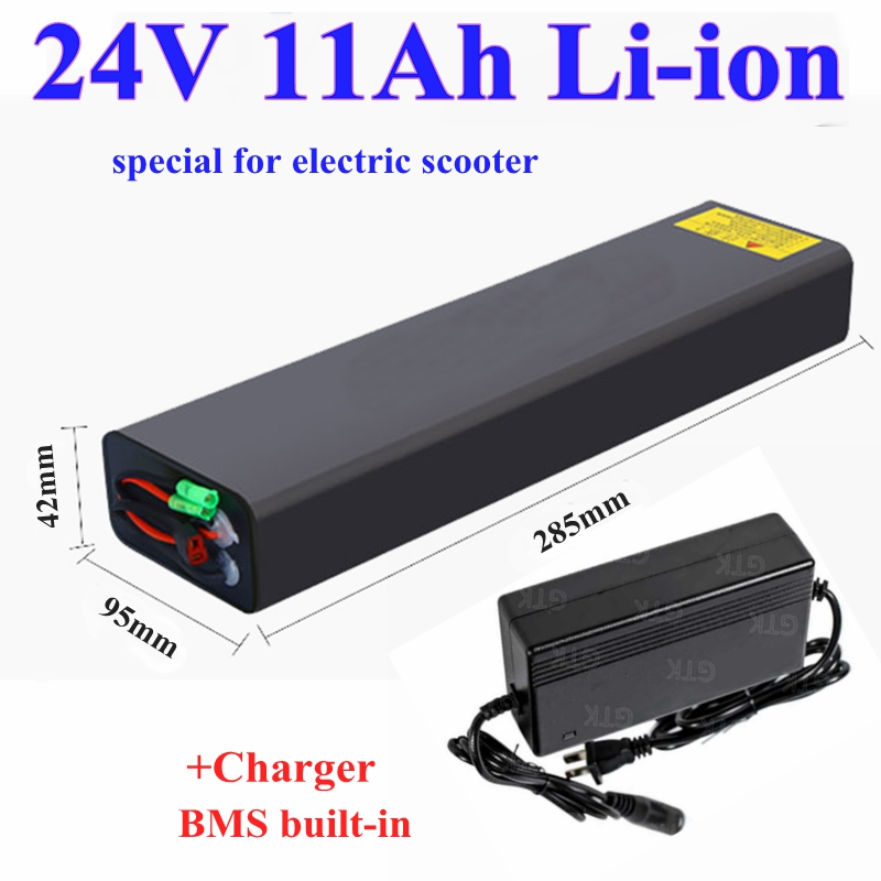 Long Strip waterproof  24V 11Ah 10Ah lithium ion 18650 li-ion battery pack with bms 7S for Electric scooter ebike+2A Charger
