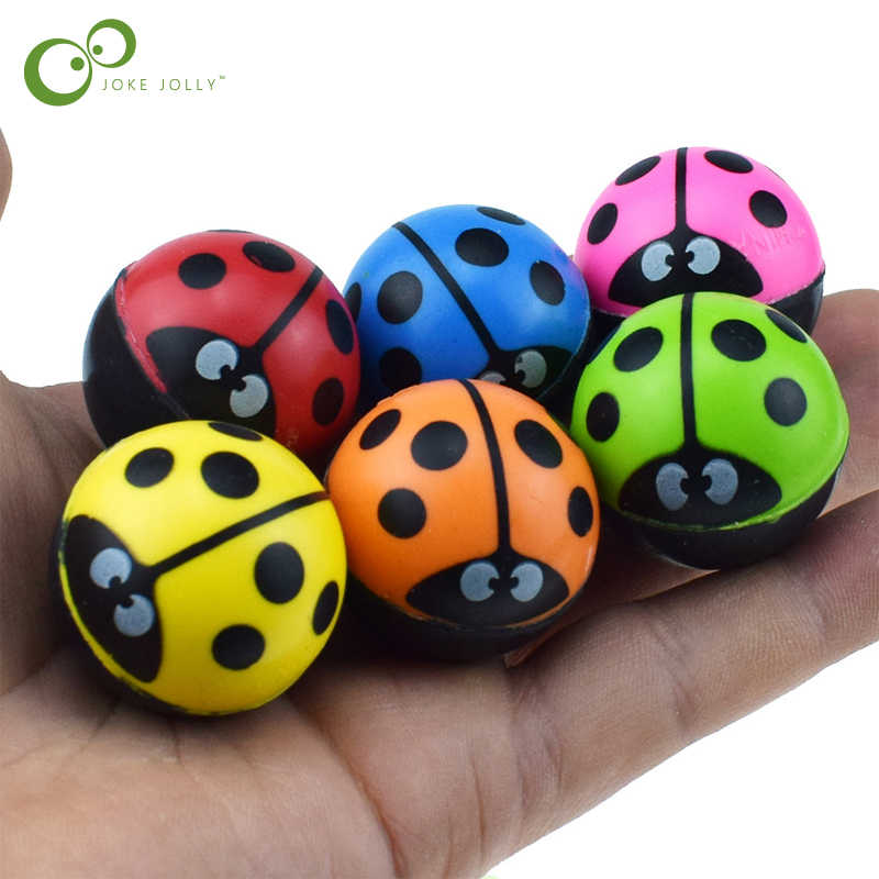 Funny Toy Balls Ladybug Bouncy Ball Solid Floating Bouncing Child Elastic Rubber Ball of Pinball Bouncy Toys GYH