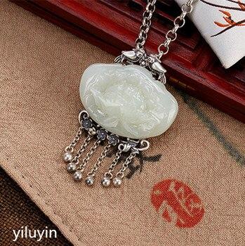 KJJEAXCMY  Fine jewelry S990 pure silver peacock peacock hollowed mosaic jade blue sand stone Hong Kong Jade Pendant