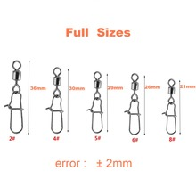 210pcs/ Box Stainless Steel Fishing Swivel Snap Ball Bearing Lock Rolling Swivel Connector hooked Snaps Pin Fishhook Tackle Kit