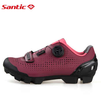 Santic Women Cycling MTB Shoes Rotating Lock Shoes Mountain Bike Biking Sneakers Cycling Women Shoes Two Colors LS18002
