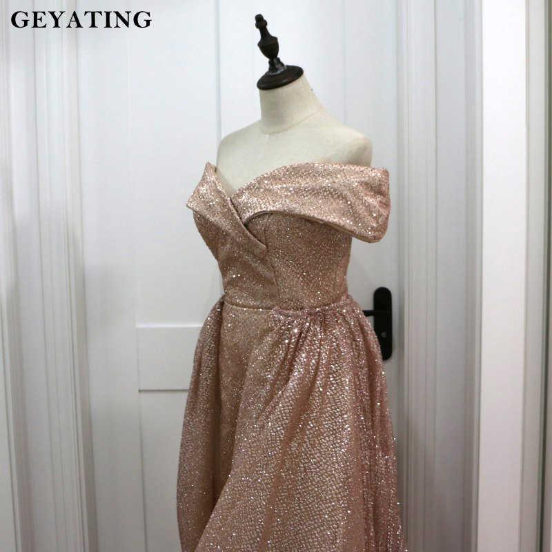 Розовое золото блёстки дубайское вечернее платье со съемной поезд 2019 элегантный с открытыми плечами блестящие арабский Overskirt Выпускные платья Длинные