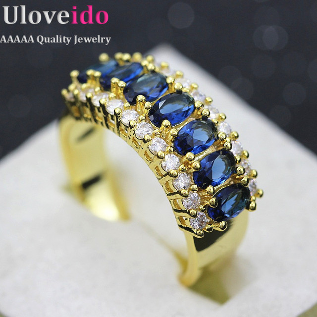 18K Gold Plated Jewelry Wedding Rings Band Vintage Romantic Crystal Fashion Jewelry Unique Women Crystal Rings for Girls J501
