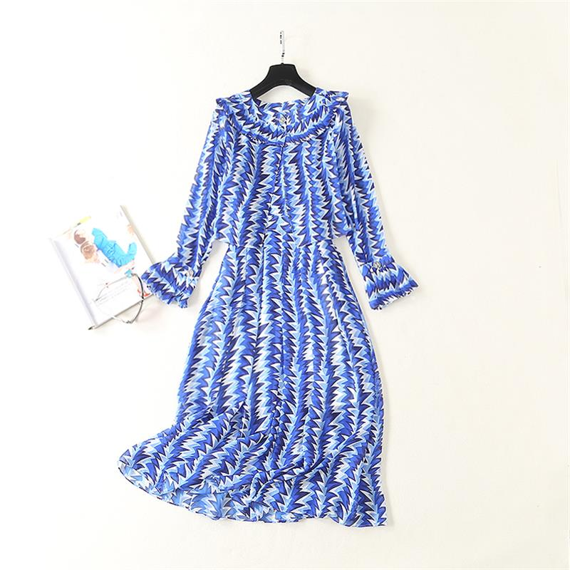 Women Runway Dress 2019 High Quality Spring Summer Printed Strap Dress Casual Dresses Outer Clothing NP0284A