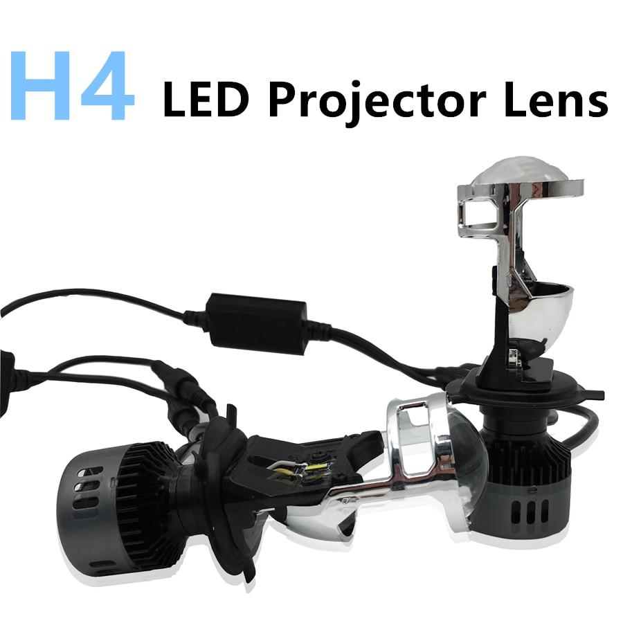 Voiture style H4 projecteur LED lentille 12 V 72 W haut feux de croisement avec voiture phare automobile LED ampoule Conversion salut/Lo pour mini lentille bi