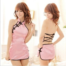 2016 SM Exotic Apparel Women Lace Dress Cheongsam Sex Erotic Sexy Lingerie Babydoll Pajamas G-string Hollow Nightdress Set P645