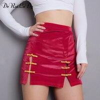 DeRuiLaDy Women Elegant Lace Up Velvet Pencil Skirt Autumn Winter High Waist Skirts Hollow Out Split