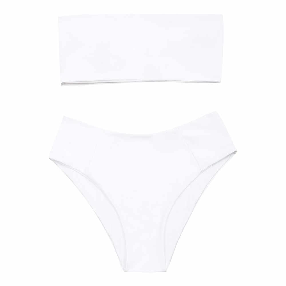 Zaful Bikini Baju Renang Wanita Pita Pengikat Rambut Kerah Tinggi Dipotong Bikini Set Tali Baju Renang Kaki Tinggi Pakaian Musim Panas Beacher Biquni