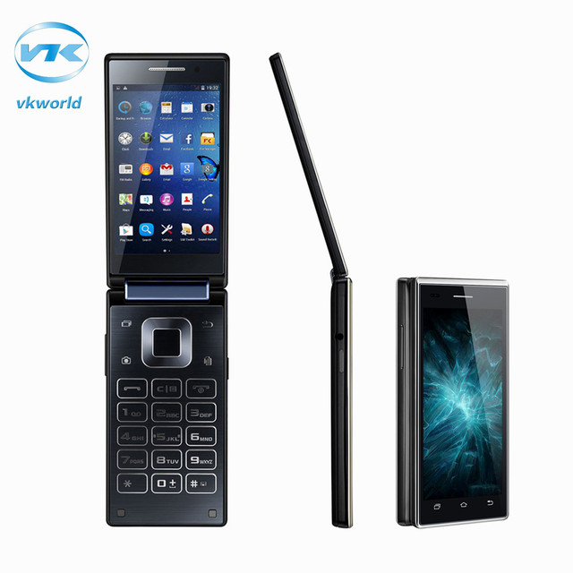 Original vkworld t2 quad core de doble pantalla plegable 3g smartphone 8 gb rom 1 gb ram android 5.1 mtk6580 tarjetas sim dual móvil teléfono