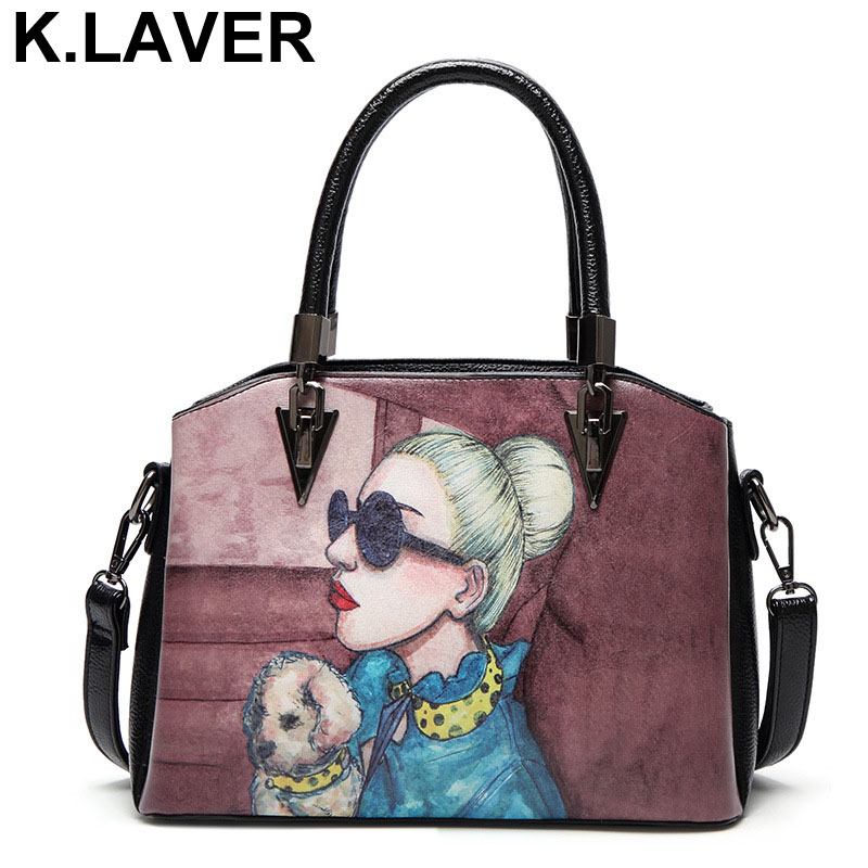 Women Leather Handbag Shoulder Messenger Bags Printing Lady Cartoon Female Handbags Sac a Main Bolsa Crossbody Tote Bag Feminina kzni genuine leather bag female women messenger bags women handbags tassel crossbody day clutches bolsa feminina sac femme 1416