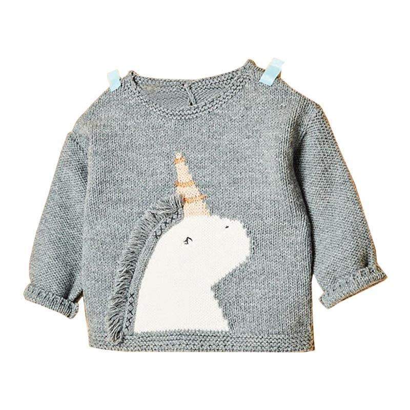 Autumn Baby Girl Sweater Children Animal Embroidered Long Sleeves Sweater White Black Plus Size Newborn Baby Girl Cute Pullover
