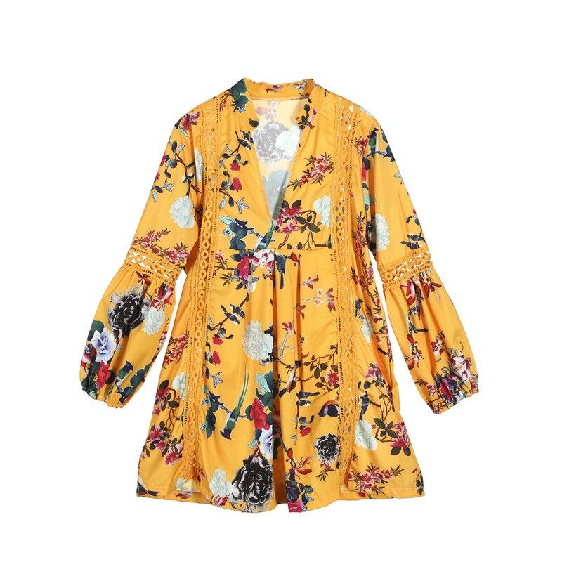Women 2018 Summer Dress Sexy Deep V-Neck Long Flare Sleeve Wrap Mini Dress Floral Print Boho Beach Dress Sundress